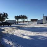 Our campground in Oklahoma covered with snow