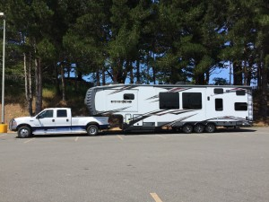 Truck and camper in a lot in Eureka California