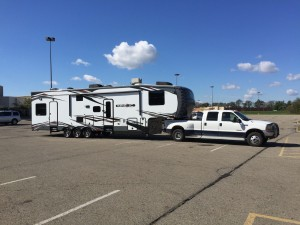 The camper and truck hooked up and ready to travel