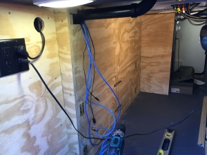 The new bulkhead installed and network cabling being run