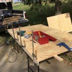 lamping one of the side boards to the plywood