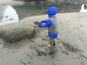 Brandon emptying his boots after walking too deep in the tide pools