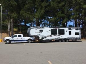 Truck and camper in a lot in Eureka California