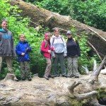 Family on a log in Fern Canyon