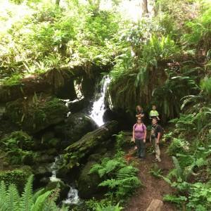 Kids at a waterfall